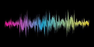 Color sound wave sign. Vector illustration. Color sound wave sign on black background. Vector illustration. Colorful musical bar showing volume Royalty Free Stock Photo