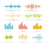 Color sound waves vector illustration