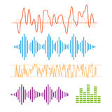 Color sound waves. Music technology, digital design, stereo equalizer Royalty Free Stock Photos