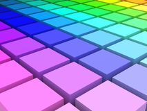 Color Space. 3d render of colored blocks in HLS space arranged in a grid Royalty Free Stock Images