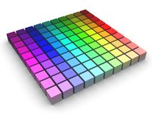 Color Space. 3d render of colored blocks in HLS space arranged in a grid Royalty Free Stock Photo