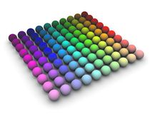 Color Space. 3d render of colored speheres in HLS space arranged in a grid Stock Image