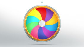 Color space of Wheel fortune. The wheel of fortune or Lucky spin animation was created by Three Dimensional. Video is included the alpha channel and motion loop Royalty Free Illustration