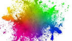Color spatters. Animation of colorful splatters on white background stock video footage