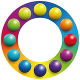 Color Spectrum Frame Rainbow Balls. Color spectrum - twelve balls placed upon the respective complementary colors of a rainbow colored circle to increase their Royalty Free Stock Image
