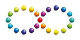 Color Spectrum Infinity Symbol Rainbow Balls. Color spectrum formed by balls as infinity symbol. Illustration over white background Royalty Free Stock Image