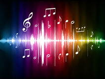 Free Color Spectrum Pulse With Musical Notes Royalty Free Stock Image - 14271886
