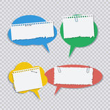 Color speech bubble with white torn paper pieces Royalty Free Stock Photos