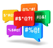 Color speech bubbles with censored swearing words Stock Photography
