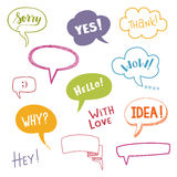 Color speech bubbles set with short messages. Vector illustration Royalty Free Stock Photos