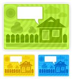 Color speech sticker with house Stock Image