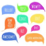 Color  speech or thought bubbles with text. Colorful  speech or thought bubbles with deckle ragged edges set. Message clouds with Hello, Hi, Wow, Awesome, Bye Royalty Free Stock Image