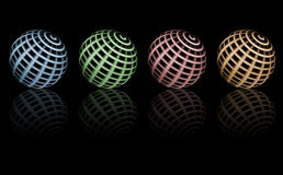 Color sphere. Green, blue, red and orange spheres over black background Stock Image