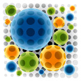 Color Spheres. Group of Transparent Color Spheres on Light Dotted Pattern. Vector Background Stock Photography