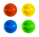 Color spheres. 3d glassy color spheres  set, ball, orb, pointer, switcher Stock Images