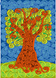 Color spirals tree illustration Royalty Free Stock Photos