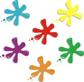 Color splash spots. Five color splash spots in white background Royalty Free Stock Photo