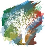Color splash tree Royalty Free Stock Images