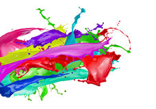 Color splashes isolated on a white background.  Royalty Free Stock Photos
