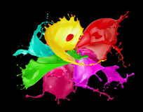 Color splashes isolated on a white background Stock Photos