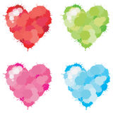 Color Splatter Heart set. 4 colors splatter heart set, create by vector Royalty Free Stock Photos