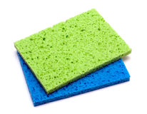 Color sponge. Kitchen color sponge isolated on a white background royalty free stock photography