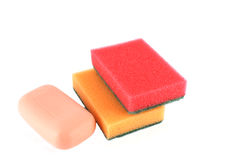 Color sponges and soap Stock Image