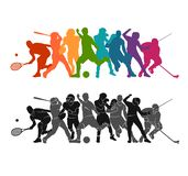 Color sport background. Football, soccer, basketball, hockey, box, tennis, baseball. Vector illustration colorful people silhouett. Color sport background royalty free illustration