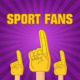 Color sport fans foam fingers Royalty Free Stock Photos