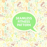 Color Sport and fitness seamless doodle pattern with sticker fra Royalty Free Stock Photography