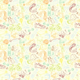 Color Sport and fitness seamless doodle pattern Stock Photo