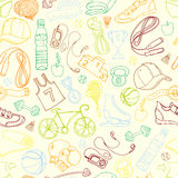 Color Sport and fitness seamless doodle pattern Stock Images