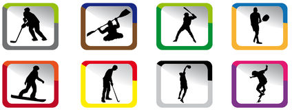 Color sport icons. Small sport icons in various colors Royalty Free Stock Image