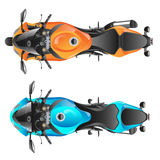 Color sport motorcycle. Two motorcycles top view Stock Photos