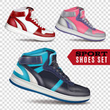 Color Sport Shoes On Transparent Background. Collection of colored sport shoes on transparent background in realistic style for advertising in wholesale and Vector Illustration
