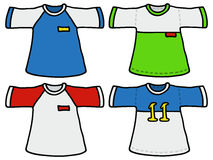 Color sports shirts. Hand drawing of four color sports shirts royalty free illustration