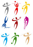 Color sports symbols. Athlets sport symbols may be use your logos Royalty Free Stock Photography