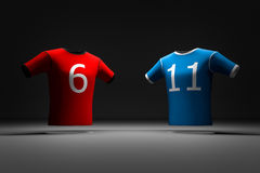 2-color sports t-shirt. T-shirt 3D model in background Stock Image