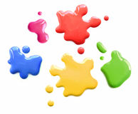 Color spots callouts. Bright shiny color spots splatters on white background isolated stock photo
