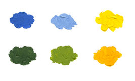 Color spots on white background isolated. Acrylic color spots on white background isolated Royalty Free Stock Photos