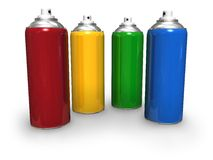 Color spray cans Royalty Free Stock Photos
