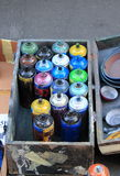 Color spray cans Stock Images