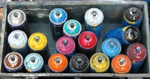 Color spray cans Stock Image