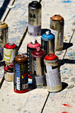 Color spray cans Royalty Free Stock Photography