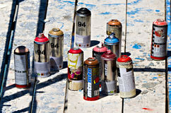 Color spray cans Stock Photos