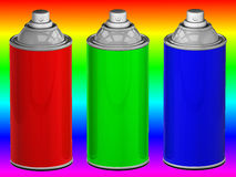 Color spray cans. RGB color spray cans.3d rendered image Stock Image