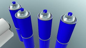 Color spray cans in blue and white on grey stock footage