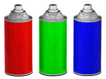 Color spray cans isolated. RGB color spray cans.3d rendered image Stock Photo