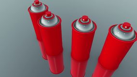 Color spray cans in red stock video footage