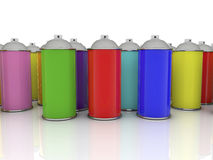 Color spray cans in various colors Royalty Free Stock Photography